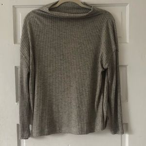 Light gray sweater with cutout back detail
